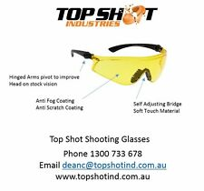 Clay Target Shooting Glasses - yellow Lens, adjustable arms, Scratch and Antifog
