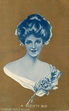 Postcard Gibson-like Girl - A Society Bud - Gold Background - circa 1908