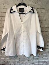 Soft Surroundings Label Noir White Blouse sz L Black Velvet details stretch