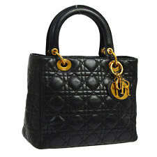 Authentic Christian Dior Lady Dior Cannage Hand Bag Black Leather Vintage 802538