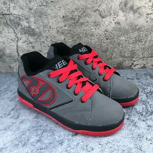Heelys Propel 2.0 Boys Gray Red Lace Up Skate Sneaker Shoes Youth Size 5