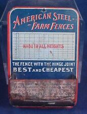 Antique American Steel Farm Fences Tin Wall Match Safe Holder Advertising