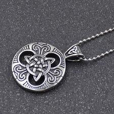 Charm Stainless Steel Celtic Knot Both Sided Pendant Women Men Necklace Gift