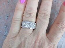 14 KT White Gold Pave Diamond Cigar Band Design Wide Ring ESTATE 2.00 CT