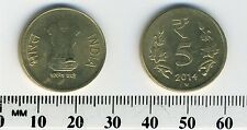 India 2014 (H) - 5 Rupees Nickel-Brass Coin - Value flanked by flowers
