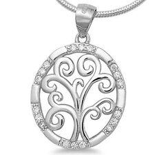 Lebensbaum 925 Silber Kettenanhänger Baum des Lebens Zirkonia rhodiniert