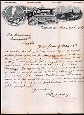 1893 Fairmount Indiana -  Land Gas and Improvement Co  RARE History Letterhead