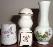 3 Pc Dollhouse Miniature Ceramic Mock Lamp Vase Russ Planter Curio Rose Display