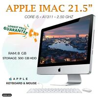 "APPLE IMAC A1311 21.5"" MID 2011 INTEL CORE i5 RAM 8GB 500GB HDD WEBCAM FREE POST"
