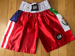 Red MEXICO/USA Flags Boxing Shorts Trunks Boxing Training Fitness White Elastic