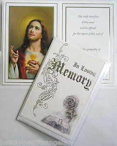 Deluxe Catholic  Mass Card  Sacred Heart In Loving Memory Sympathy Bereavement