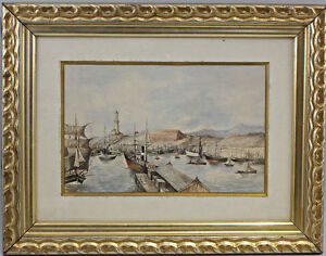 99860051 Watercolour Bustling Port Northern Europe Scandinavia Sea
