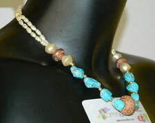 Collana esotica con perle di fiume, perle e pietre di turchese OMA19