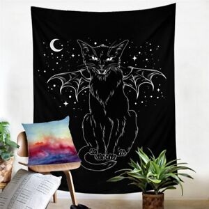 Cat Witchcraft Black Moon Wall Tapestry Hanging Throw Cover Home Room Decoration