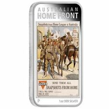 Australia 2017 Posters of World War I –Home League 1 OZ $1 SILVER Rectangle COIN