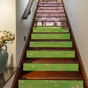 Floating Pink Flowers Green Grass Stair Rise Stickers Customizable Stair Sticker