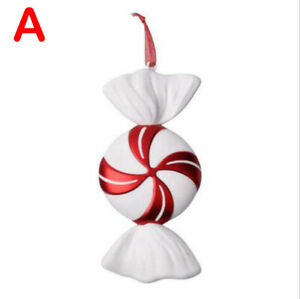 Christmas DIY Red & White Candy Hanging Pendant Ornaments Xmas Tree Decor 30CM