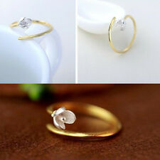 Women Magnolia Flower Ring Adjustable Sizable Blossom Cupronickel Silver Ring