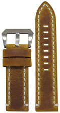 22mm Panatime Distressed Saddle Leather Watch Band w/ White Stitch 22/22 125/75