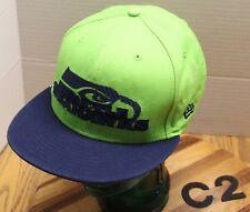 NEW ERA 9FIFTY SEATTLE MARINERS HAT BLUE/GREEN FLAT BILL SNAPBACK VGC C2