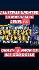 "XBOX LEVEL 65 ""GAME BREAKER AMARA BUILD"" 6 ITEMS w/ GOD ROLLS MAYHEM 10 MOXSY"