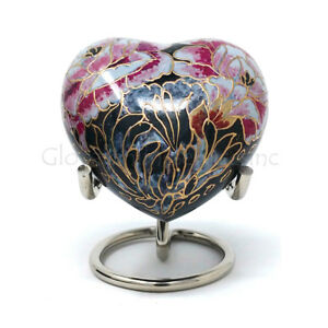 Floral Blush Heart Keepsake Mini Container for Cremation Ashes.