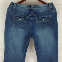 Sonoma Womens Size 10 Stretch Blue Med Wash Flap Pocket Thick Denim Bootcut Jean