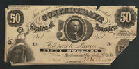 $50 DOLLARS 1861 T-8 Washington CONFEDERATE CURRENCY Old Obsolete Note Bill