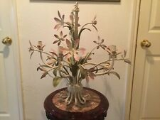 Vintage Antique Country French Lily Flowers 5 Candle Chandelier Lighting Lamp