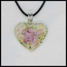 Fashion Women's heart lampwork Murano art glass beaded pendant necklace #A17
