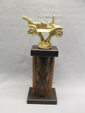 cast metal gold antique car wood column trophy award black marble base car show