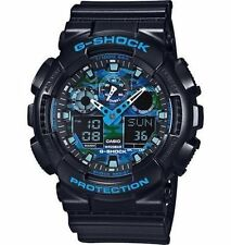 New Casio G Shock Blue Black Camo Resin Analog Digital Watch GA100CB-1A