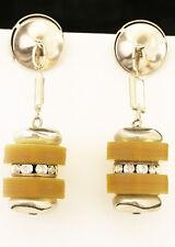 Amazing Art Deco Bakelite and diamonte drop earring. Vintage butterscotch clip o