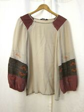 BCBG Max Azria Nutral Brown Maroon Embroidered L/S Blouse Women's Top Sz S M L