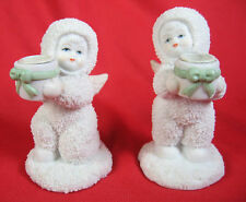 Pair of Nobel Ball Hall Snow Angels Babies Candle Holders Two 2