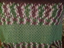 "Afghan Handmade Craft Crochet Throw Blanket Afghan Purple&Green colors 40""x 38"""