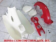 HONDA CA100 C100 C105 Red Front cover side cover fender PLASTIC SET #BI3359#