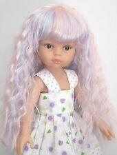 """perruque rose bleu violet poupée moderne Paola Reina autresTête 21/22cm (8/9"""")"""