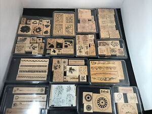 Huge Lot Of Wooden Rubber Stamps Variety 90pc Stampin Up! USA Some Vintage