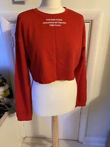 Zara Crop Red Sweatshirt
