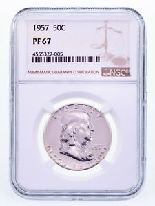 1957 50C Franklin Half Dollar Proof Graded by NGC as PF-67