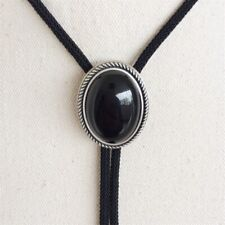 New JEAN'S FRIEND Original Nature Black Obsidian Stone Oval Wedding Bolo Tie