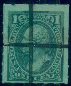 US #RB11c, 1¢ green, roulette 6, used, VF, Scott $175.00