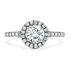 Solitaire Wedding Ring Solid Size 4 Real 18K White Gold 0.90Ct Natural Diamond