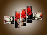 Framed Large Modern Decor 5 panels Red Flowers Oil Painting on Canvas Wall Art