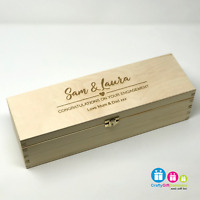 Personalised Wooden Wine Bottle Box, Engraved Champagne Engagement Gift