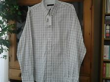 MENS CALVIN KLEIN WHITE WITH BROWN / BLUE CHECK SHIRT SIZE XL (NEW)