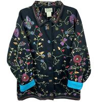 NWT Quacker Factory Black Cotton Embroidered Multicolor Beaded Jacket Women's 1X