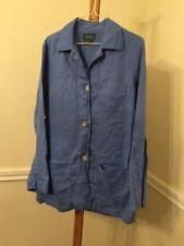 Lauren Ralph Lauren Womens Large Blue 100% Linen Button Front Blazer Jacket