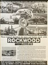 1937 AD.(XF22)~ROCKWOOD MFG. CO. ROCKWOOD PULLEYS ON BELT DRIVEN FARM MACHINERY